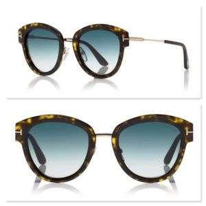 New Tom Ford Mia Rounded Havana Sunglasses